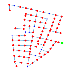 """82 AMR locations (nodes with red color) in """"Area C"""" of L-Town. Nodes colored in blue do not have AMRs installed."""