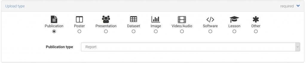 Select publication type in Zenodo
