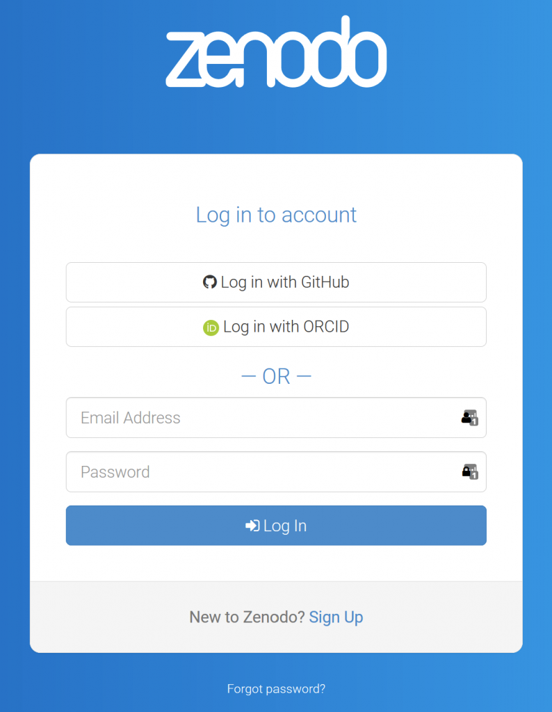 Zenodo login screen